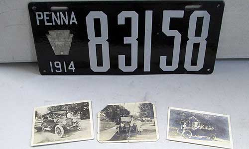 1917 License Plate with photos of the car